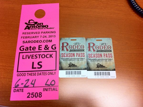 Two rodeo grounds tickets parking pass - $15 (Downtown)
