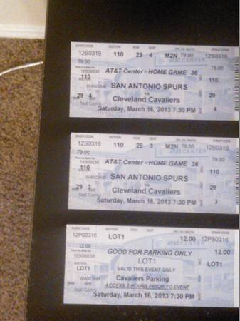 2 SPURS vs CAVS with parking pass - $125 (78245 1604 Marbach)