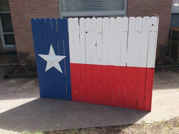 Texas flag art, trash can holder, rustic star Texas furniture - $200 (200 obo SA)