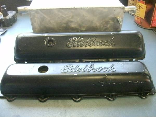 edelbrock 455 pontiac valve covers, chrome underneath - $25 (cibilo, tx.)