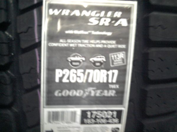 NEW TIRE GOODYEAR WRANGLER SRA P2657017 OPEN 7 DAYS A WEEK$200EACH - $200 (1206 west ave CDTIRE5)
