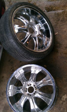 FOUR 20 chrome rims wheels tires 5x114.3 universal. TRADE - $300 (banderamainland)