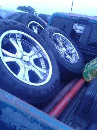 20 INCH (6 LUG) CHEVY RIMS AND TIRES, FOR SALE ($525) OR TRADE (SOUTH SA)