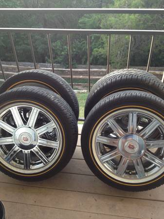 Cadillac chrome rims with vogue tires - $1500 (Austin)