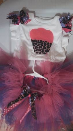 baby birthday hot pink and purple leopard tutu outfit 12- 18 months - $1 (nogalitos)