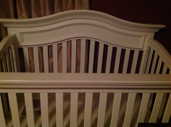 White crib with Sealy mattress pink bumper - $350