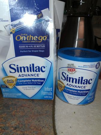 Similac advance 1 blue can and 10 single on the go packets. - $12 (sea world)