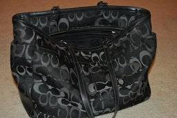 Authentic Black Coach Signature Diaper Bag TotePurse - $100 (Stone Oak)