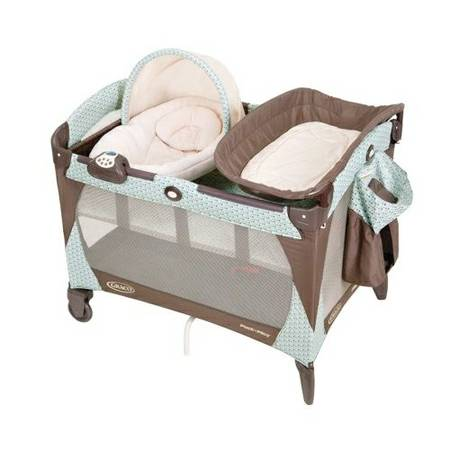 graco blue and brown pack n play