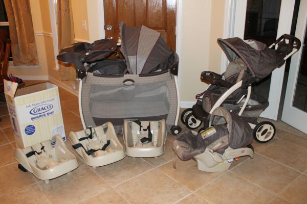 Baby Bundle - travel system, playpen, and extra bases - $200 (Stone Oak)
