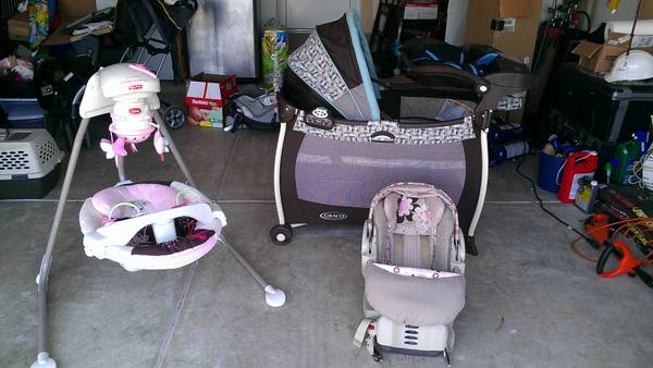 Infant Lot Pack n Playyard, cradle swing, carseat wbase, carrier - $270 (SW San Antonio - 41090)