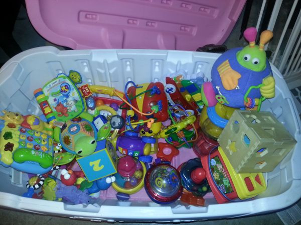 Pink little tikes toy box WITH TOYS - $60 (ne35judson)