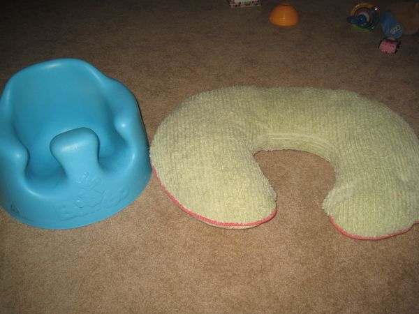 Teal bumbo seat and Boppy pillow with cover - $20 (Stone Oak area)
