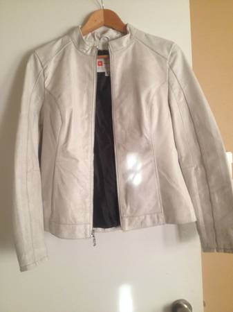 Ladies White Leather Jacket Medium - $125 (HuebnerBabcock)