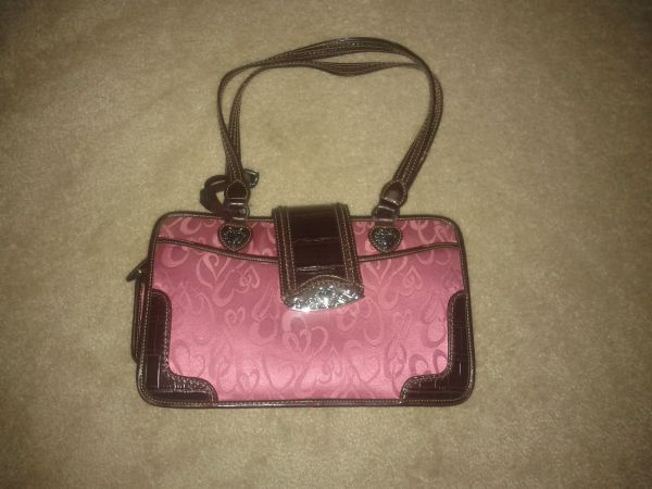 Pink Heart Brown Trim Mid Size Purse (brighton) - Make offer  - $20 (NW)