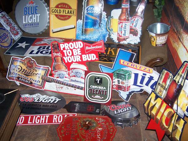 VINTAGE TIN SIGNS-BEER TAPS- BAR MATS- BANNERS, AND MORE MAN CAVE STUF (south san antonio)