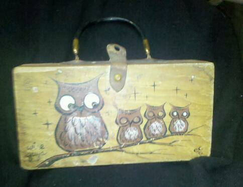 COLLINS Wooden Purse with Painted Owls - $65 (San Antonio )