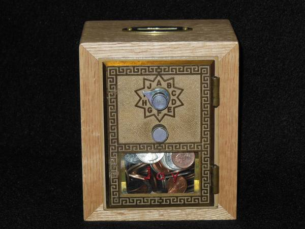 HAND CRAFTED POST OFFICE LOCK BOX DOOR COIN BANK - $45
