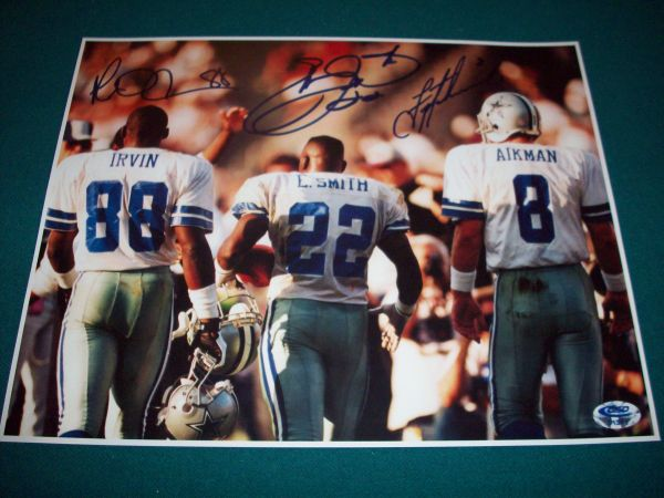 DALLAS COWBOYS EMMITT SMITH TROY AIKMAN TRIPLETS PHOTO 11X14 - $20 (STONEOAK)