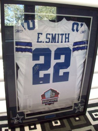 EMMITT SMITH DALLAS COWBOYS AUTOGRAPHED AUTHENTIC JERSEY FRAMED - $600 (STONEOAK)