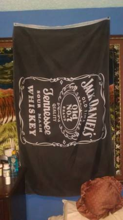 Vintage JACK DANIELS BANNER FLAG BAR SIGN HUGE 56 X 35 - $20 (South San Antonio)