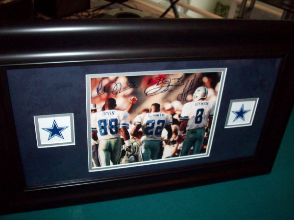 AIKMAN SMITH IRVIN DALLAS COWBOYS TRIPLETS AUTO 8X10 FRAMED TRISTAR - $300 (STONEOAK)