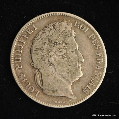 1832W France Silver 5 Francs Coin Louis Philippe I