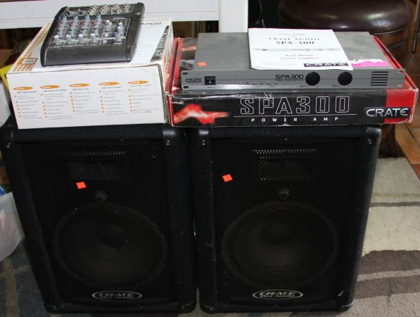 PA setup Crate Amp Speakers Mackie Mixer Mic - $350