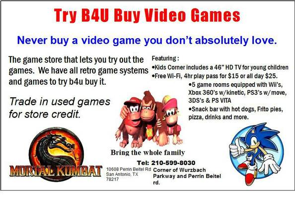 Try B4U Buy Video Game Lounge - $1 (North East)