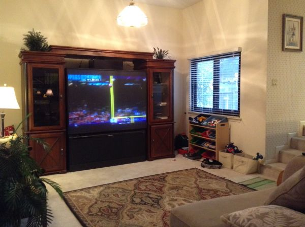 Big screen 70 inch tv with entertainment center - $175 (Blanco1604)