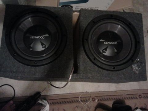2 12 inch Kenwood subwoofers in ported box - $150