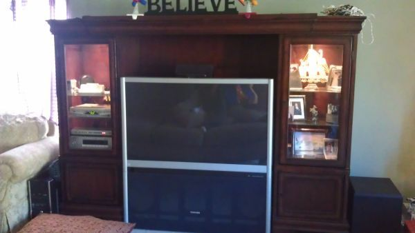 Solid Cherry Wood Entertainment Center with TV - $600 (NE)