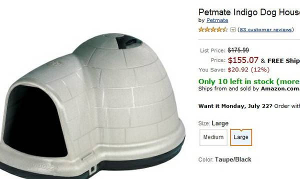 Dog House, Petmate Igloo Large - $100 (Canyon Lake)