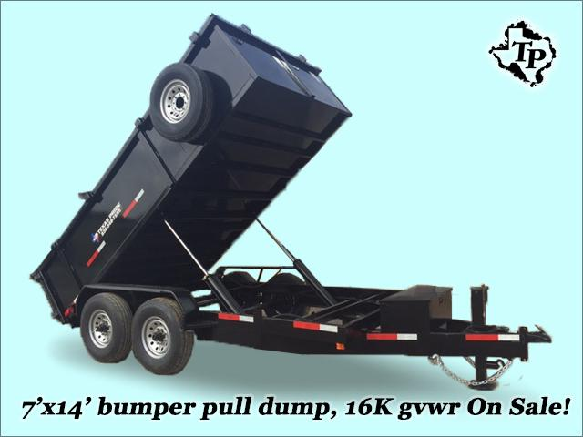 $5,895, 2015 Year End Close Out Sale 7x14 w 3 sides Pull Dump Trailer 16k