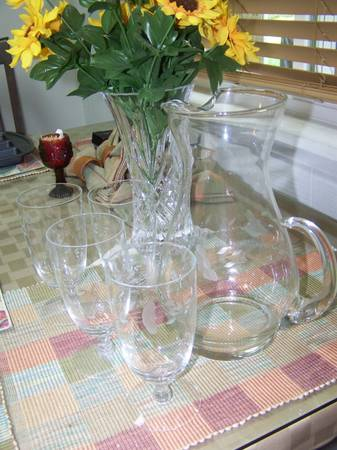 Princess House Pitcher and four teawater glasses - $50 (I-10Wurzbach)