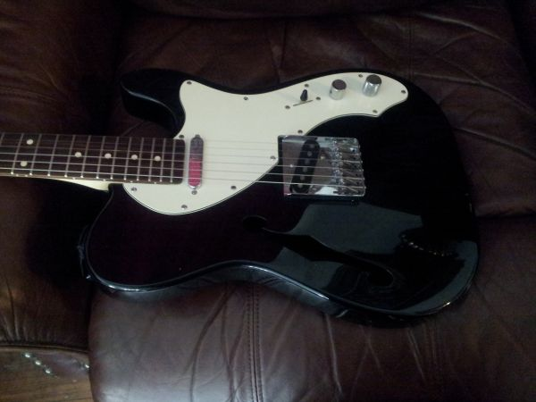 fsot black upgraded squier semi hollow telecaster (san antonio)