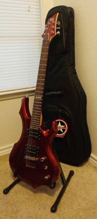 ESP LTD F-250 Guitar (red) wsoft case and stand - $250 (East Side)