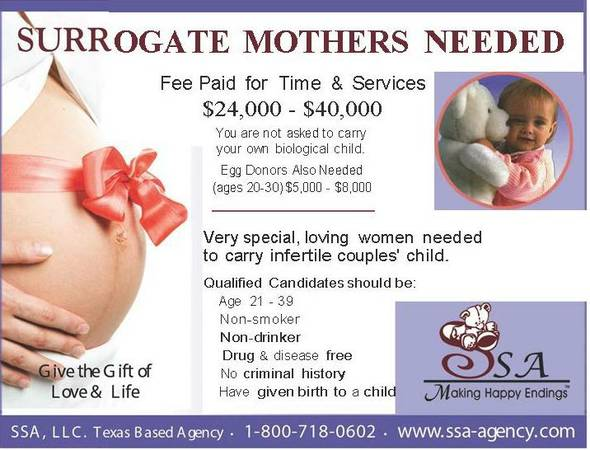 Surrogate Mothers Needed Earn Up to $40,000 (Texas, Georgia, Illinois)
