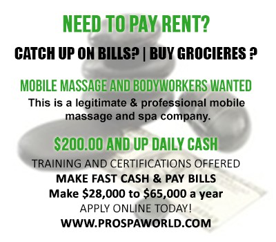 Massage Therapist Wanted   900 -  1700 Weekly Income