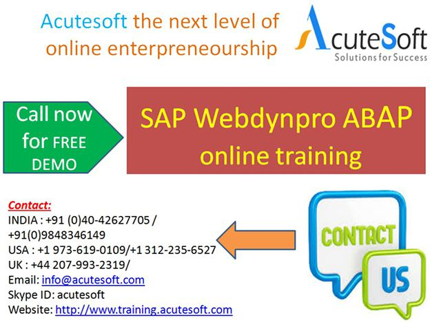 SAP Webdynpro ABAP  Online Training with Project Case Studies-AcuteSoft