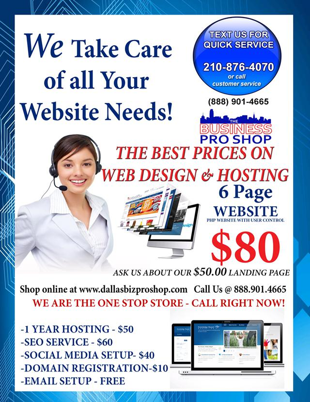 Go Pro with a new Website  Get one for  80 with Package  BIG DISCOUNTS ON WEB DESIGN