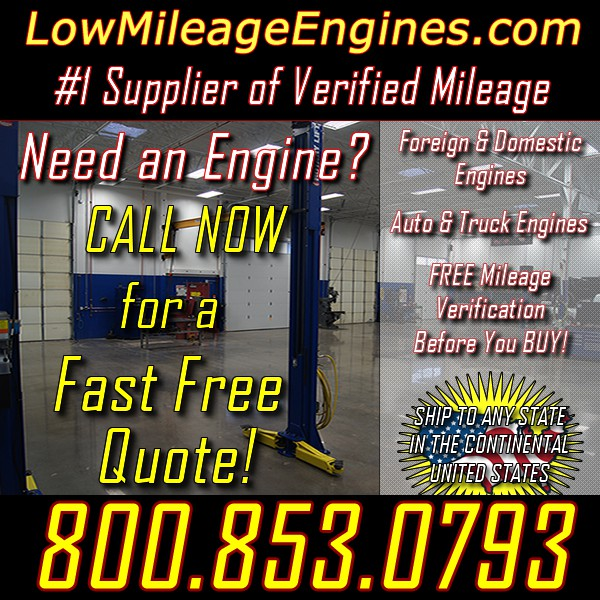Premium Salvaged Engines 28663 Verified Mileage  Run Tested