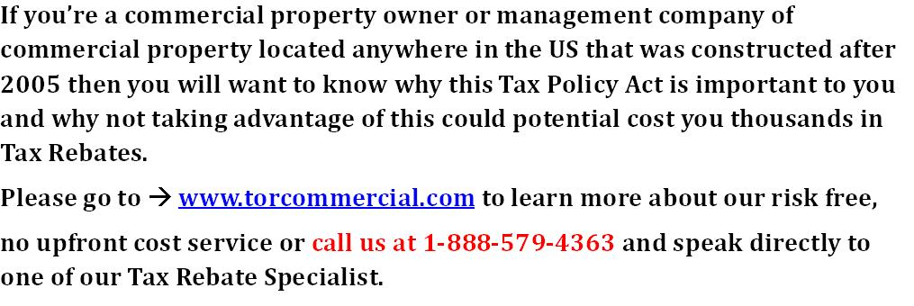 The Energy Policy Act section 179D for Commercial property owners will expire soon