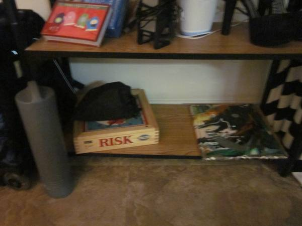 Couch, glass table top, computer desk (San Marcos, TX)