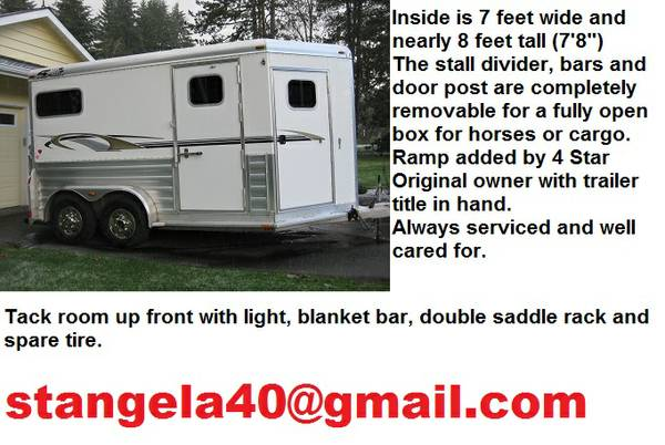 2007 Nice 4 Star All Aluminum 2 Horse Trailer -$1610