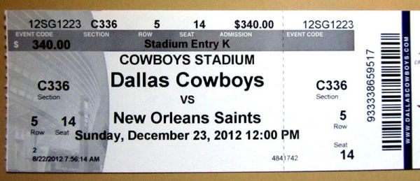 Dallas Cowboys vs SAINTS 1223 Tickets (2) 50yd Line C336 ($680 Face) - $650 (San Marcos, TX)