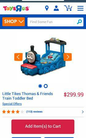 Thomas the Train Toddler Bed - $150 (Moulton)