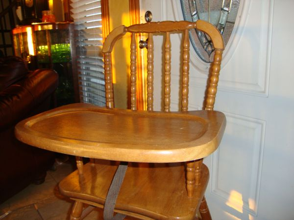 HIGH CHAIR, JENNY LIND, WOODEN - $60 (Geronimo-Seguin-SanMarcos-New Braunfels)
