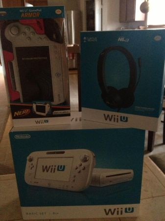 I have a WII U BRAND NEW IN BOX Will sell or trade for baby equiptoys (Stone Oak)