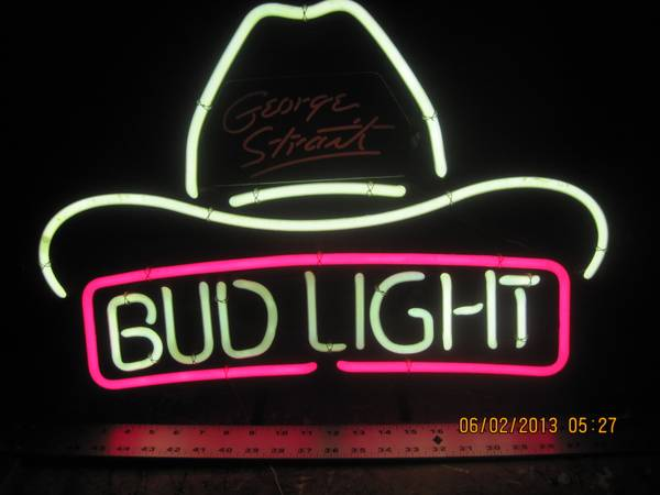George Strait Bud Light neon sign - $175 (Seguin)